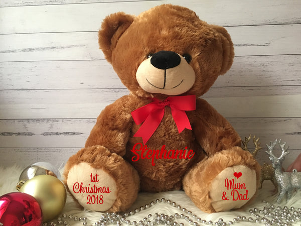 Personalised 2019 Christmas Fluffy Teddy Bear - Med