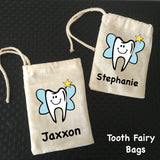 Personalised Tooth Fairy Drawstring Calico Bags