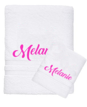 Personalised Name Bath Towel & Face Washer Set - White