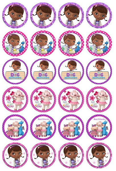 24 x Doc McStuffin Rice Paper Cupcake Toppers