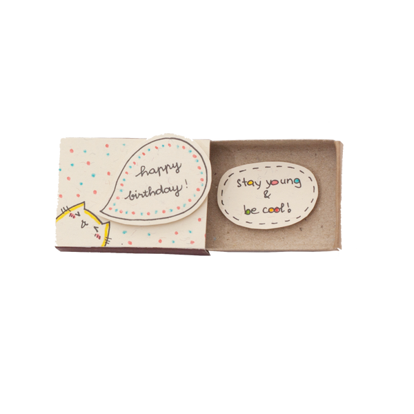 "BD003 - Cute Cat Birthday Matchbox -""Stay Young&Be Cool"""