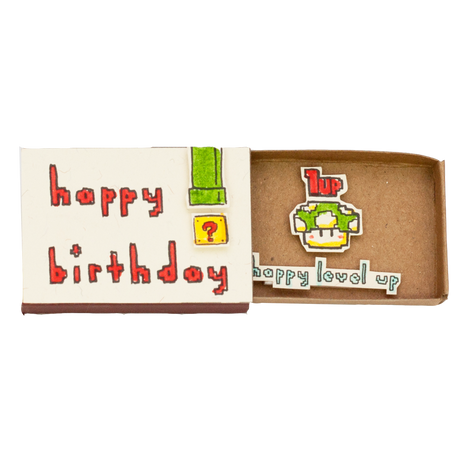 "BD023 - ""Happy level up"" Mario Birthday Matchbox - shop3xu"