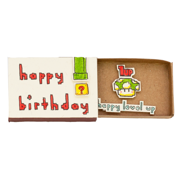 "BD023 - ""Happy level up"" Mario Birthday Matchbox"