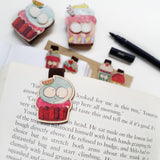 BF003 - Cute Wooden Magnetic Bookmark - Set of 5, Felt Cupcake Bookmark, Cupcake Birthday Paper Clip, Refrigerator Magnet