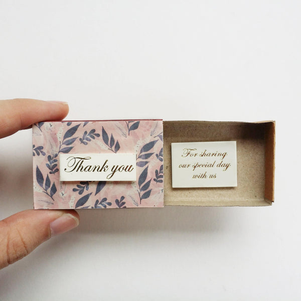 Matchbox Wedding Favor 'Thank you for celebrating our special day' - WD003