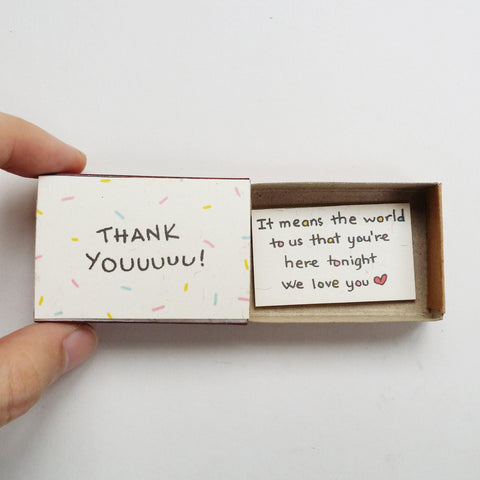 Matchbox Wedding Favor 'It means the world to us that you're here tonight' - WD004