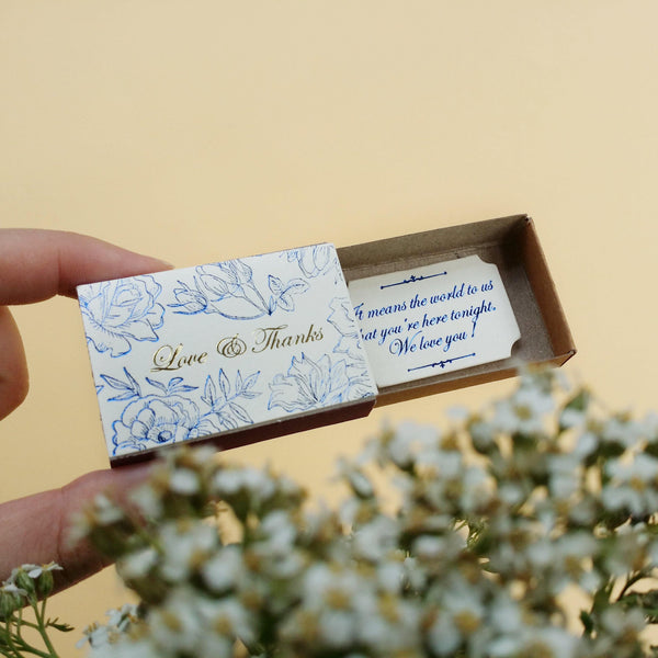 Matchbox Wedding Favor 'Love & Thanks' - WD001