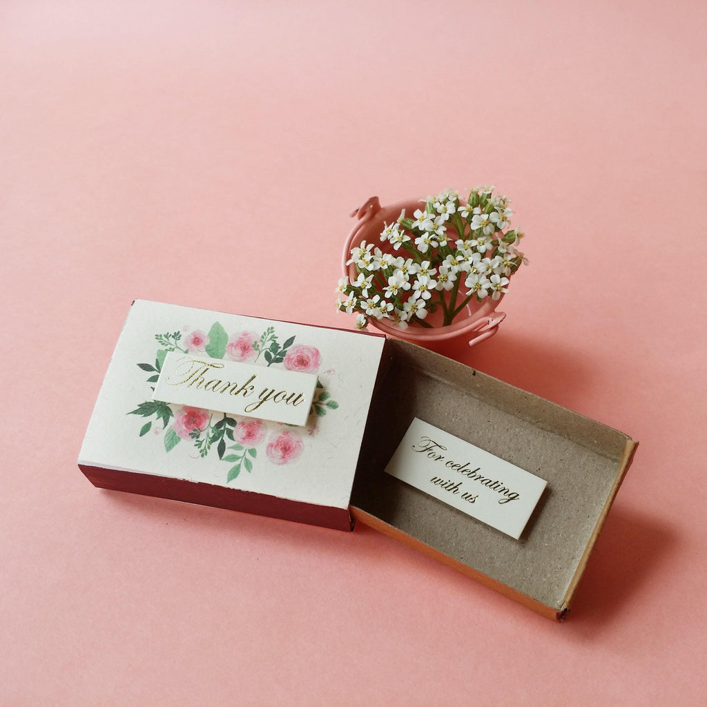 Matchbox Wedding Favor 'Thank you for celebrating with us' - WD002