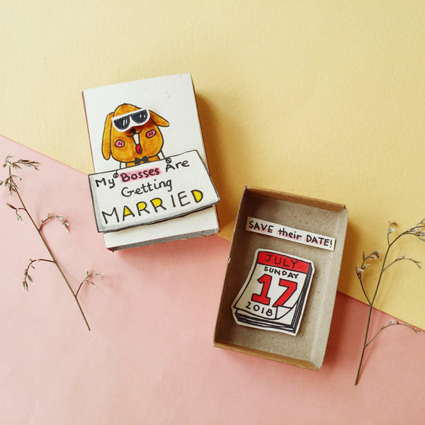 Matchbox Wedding Invitation 'My Bosses are getting married' - WD010