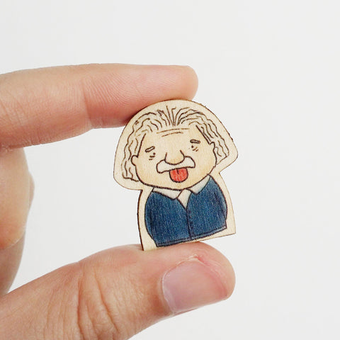 Albert Einstein Wooden Pin - PS001