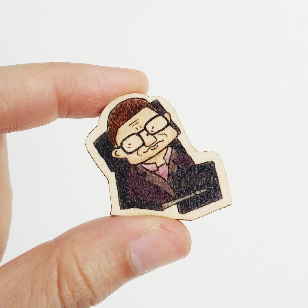 Stephen Hawking Wooden Pin - PS014