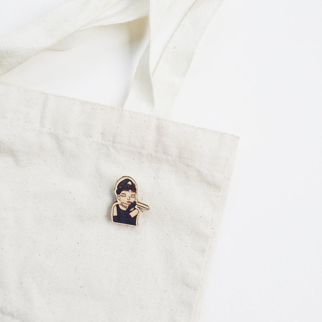 Audrey Hepburn Wooden Pin - PS020 - shop3xu
