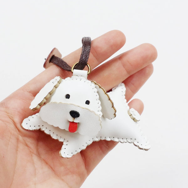 White Poodle Dog Leather Charm - PT042