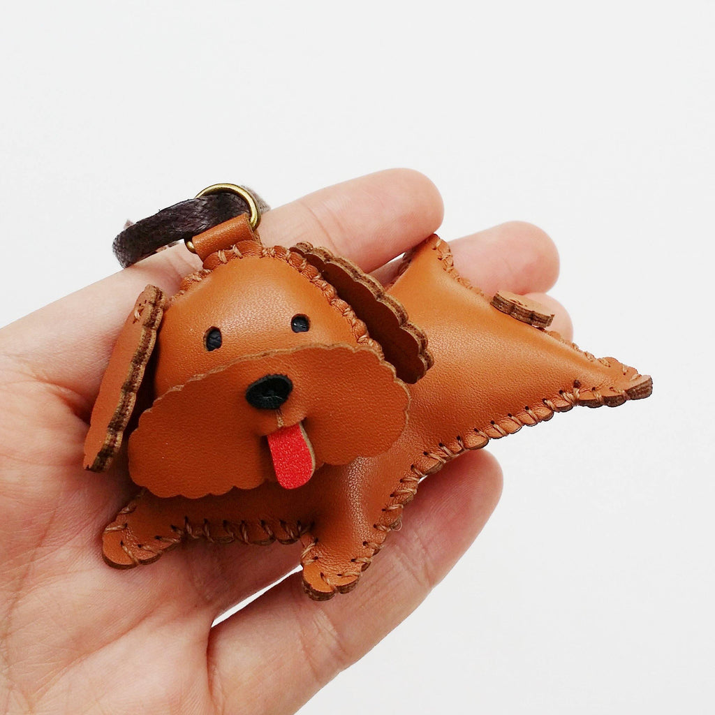 Brown Poodle Dog Leather Charm - PT041