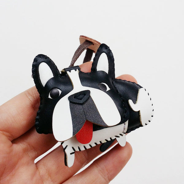Black and White Frenchie Dog Leather Charm - PT037