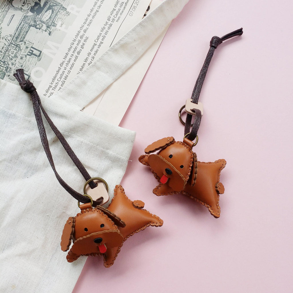 Brown Poodle Dog Leather Charm - PT041 - shop3xu