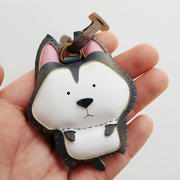 Husky Dog Leather Charm- PT018