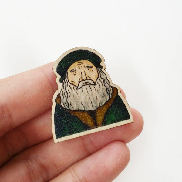 Leonardo Da Vinci Wooden Pin - PS010