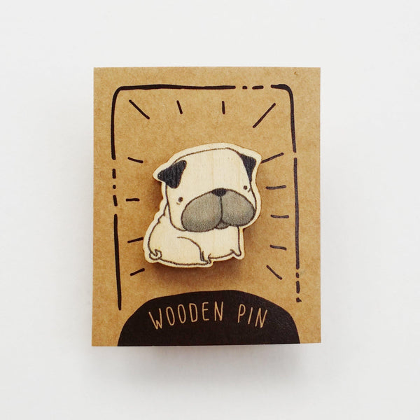 Pug Dog Wooden Pin - PN026