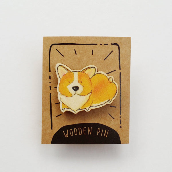 Corgi Dog Wooden Pin - PN022