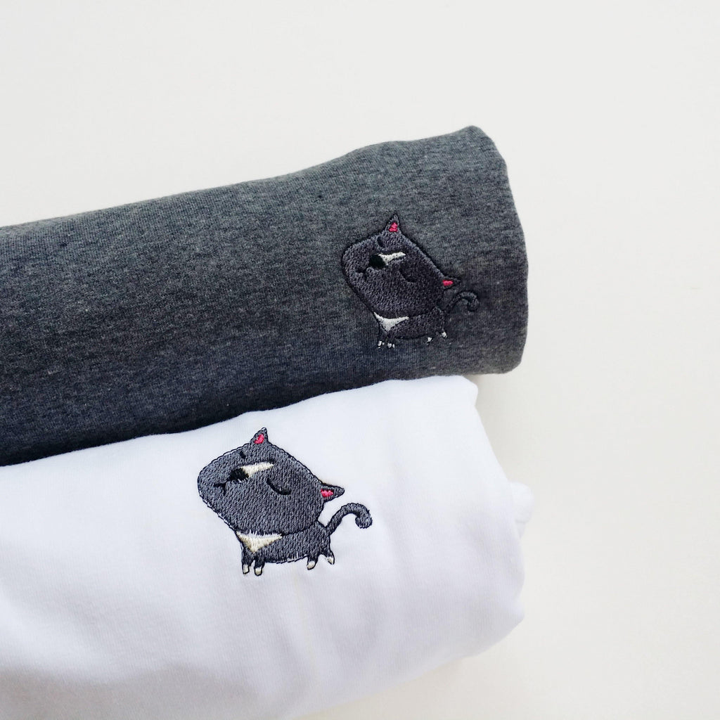 British Shorthair Grey Cat Embroidered T-Shirt - shop3xu