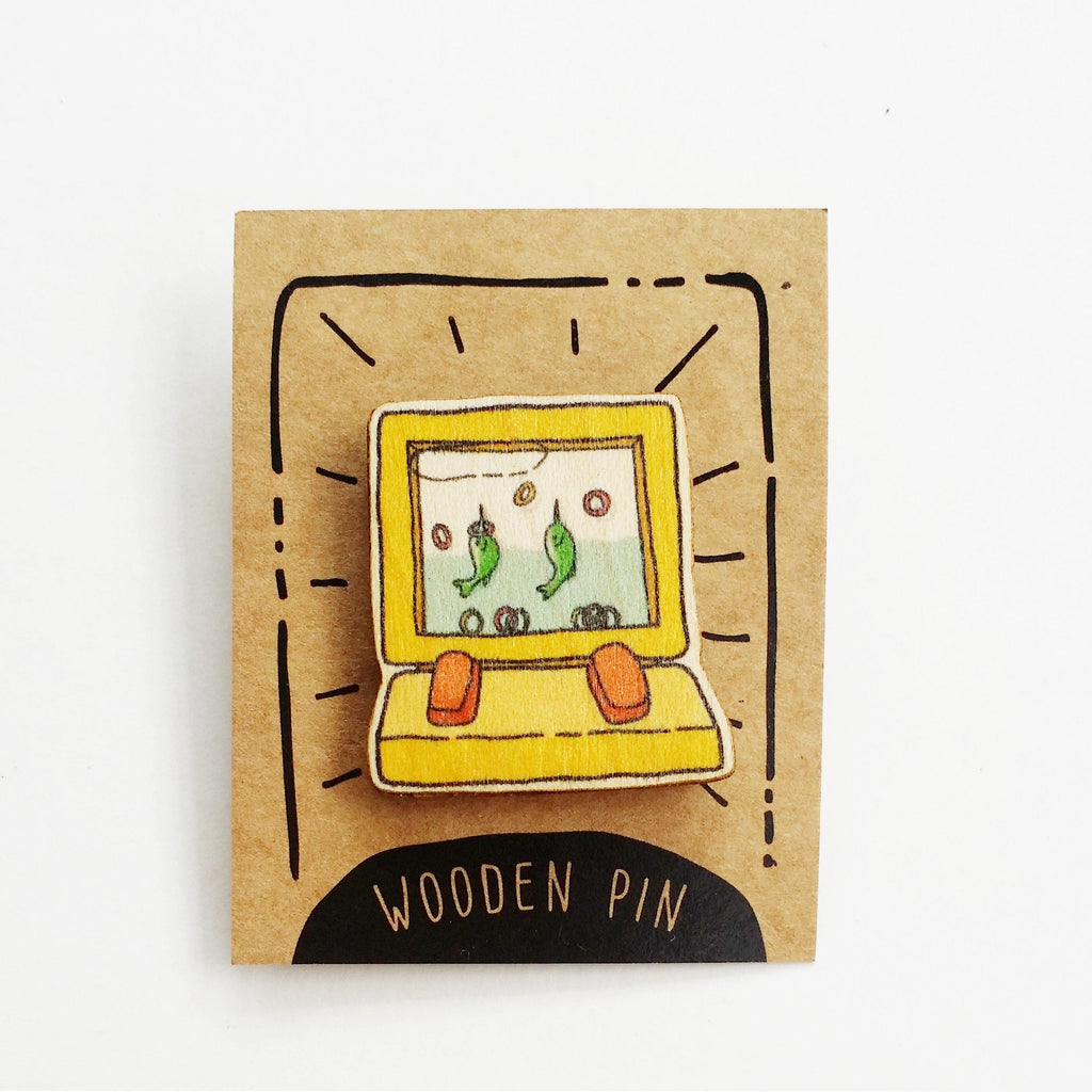 Yellow 90s Water Toy Wooden Pin - PN033