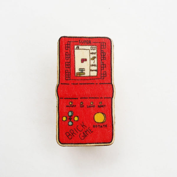 Red 90s Tetris Toy Wooden Pin - PN039