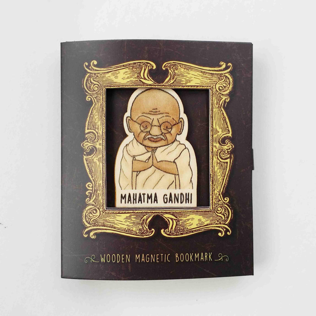 Mahatma Gandhi Magnetic Wooden Bookmark - BO032