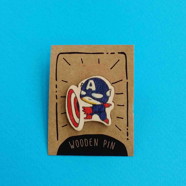 Captain America Wooden Pin - PN002 - shop3xu