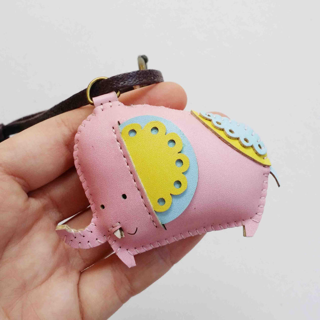 Pink Elephant Leather Charm - PT061