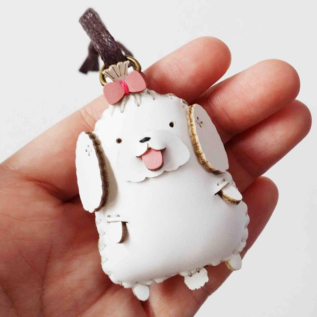 White Maltese Dog Leather Charm - PT015