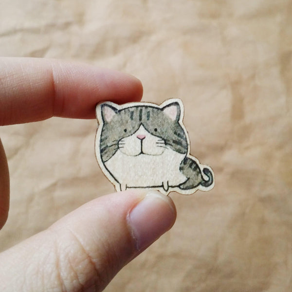 Tabby Cat Wooden Pin - PN016