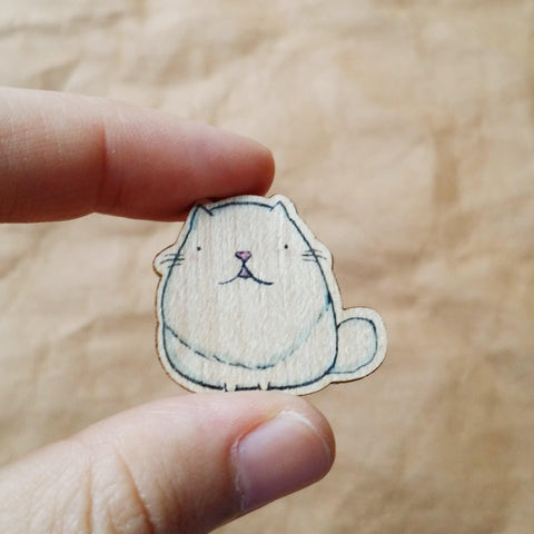 White Longhair Cat Wooden Pin - PN015