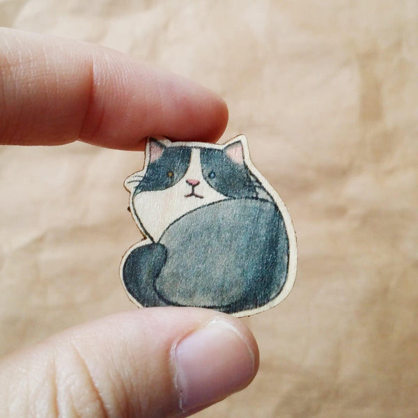 Grey Cat Wooden Pin - PN013