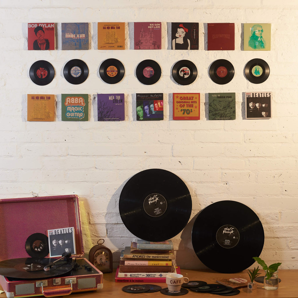 Music room Decoration with Shop3XU's Vinyl Coasters