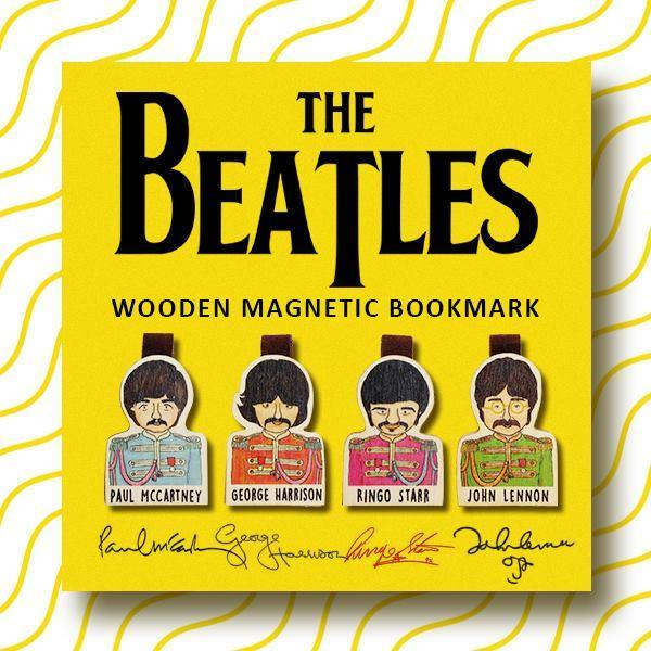Set of 4 The Beatles Magnetic Wooden Bookmark