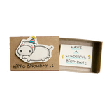 BD002 - Have A Wonderfull Birthday Hippo Matchbox