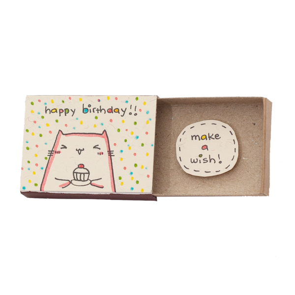 "BD001 - ""Make a wish"" Kitty Cupcake Matchbox"