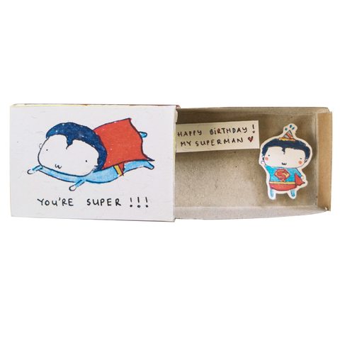 BD029 - Cute Superhero Birthday Card Matchbox - Happy birthday to my superman