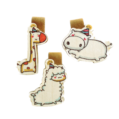 BM001 - Cute Wooden Magnetic Bookmark - Hippo, Llama, Giraffe