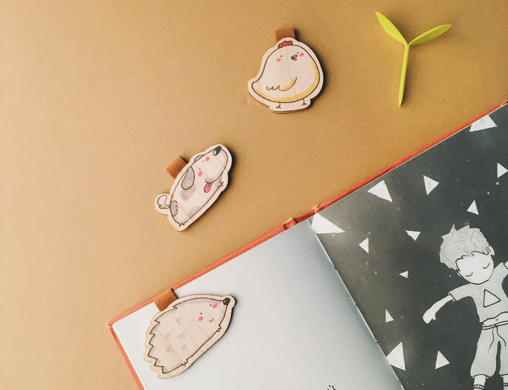 BM002 - Cute Wooden Magnetic Bookmark - Chick Puppy Porcupin - shop3xu