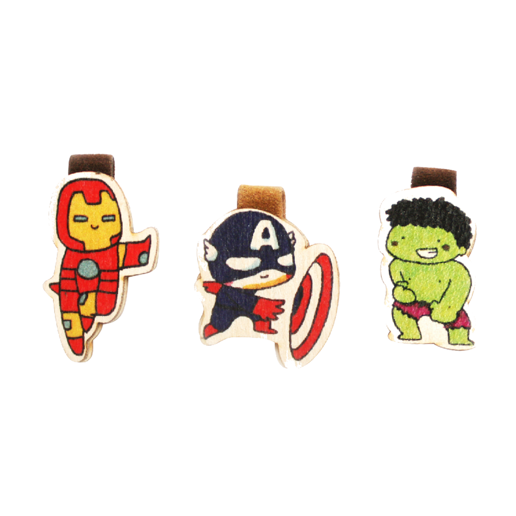 BM012 - Funny Superhero Magnetic Bookmark - Iron Man, Captain America, Hulk