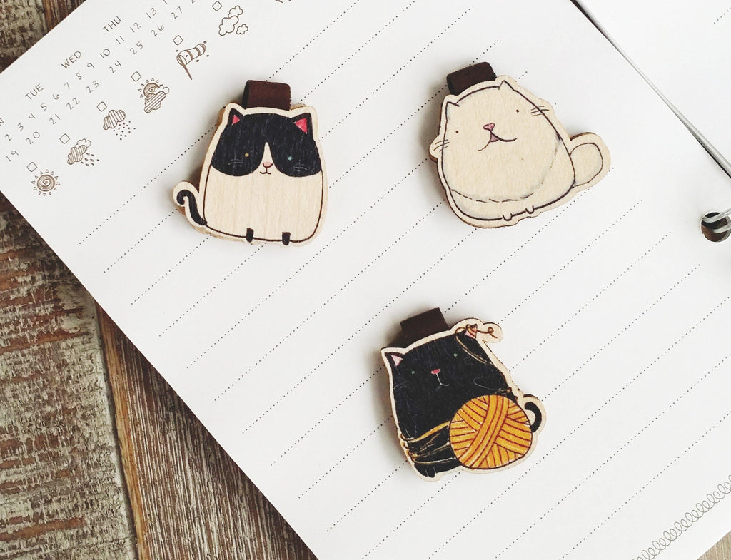 BM025, BM026, BM027 - 3 Cute Cat Wooden Bookmark Sets for $25 - shop3xu