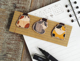 BM026 - Cute Wooden Magnetic Bookmark - Snowshoe, Tortoiseshell, Calico