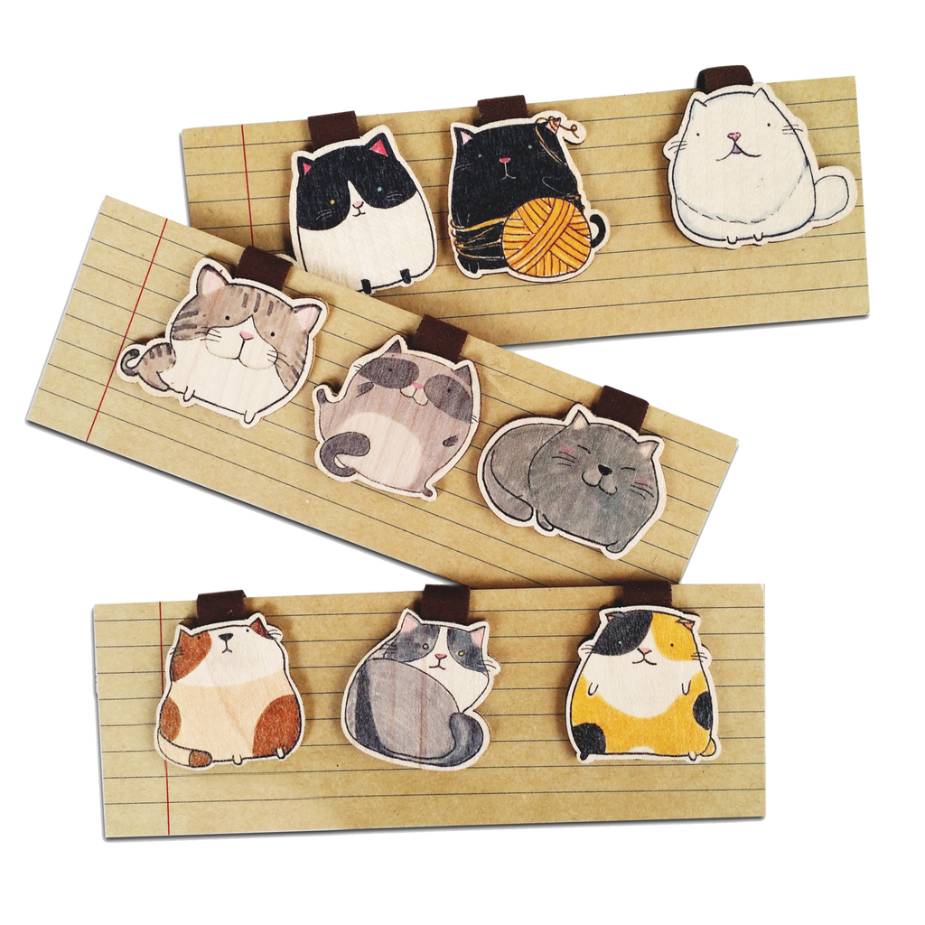 BM025, BM026, BM027 - 3 Cute Cat Wooden Bookmark Sets for $25