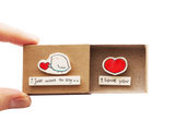"LV042 - ""I love you"" Birdy Matchbox Card"