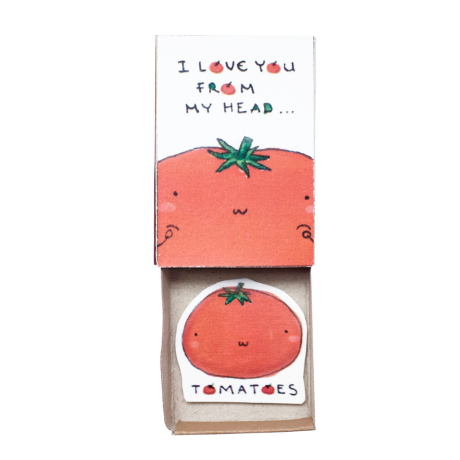 LV092 - Tomatoes I Love You From The Head Matchbox Card, Cute Love Card