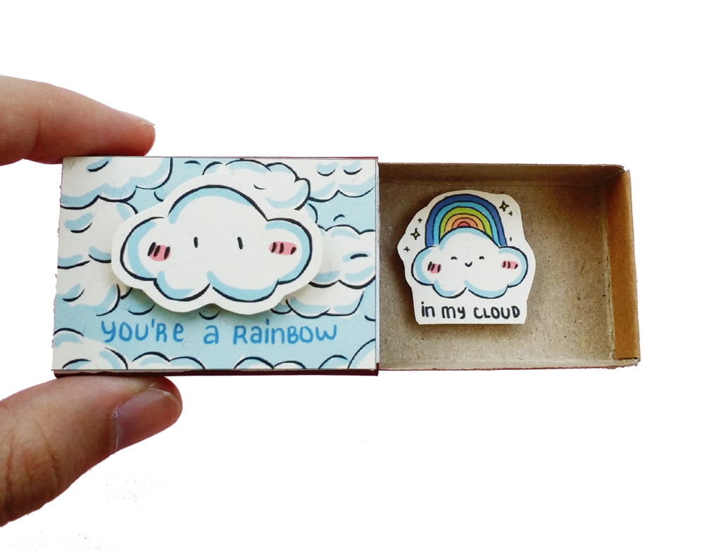 "Matchbox card  ""You're a rainbow in my cloud"" - LV128"