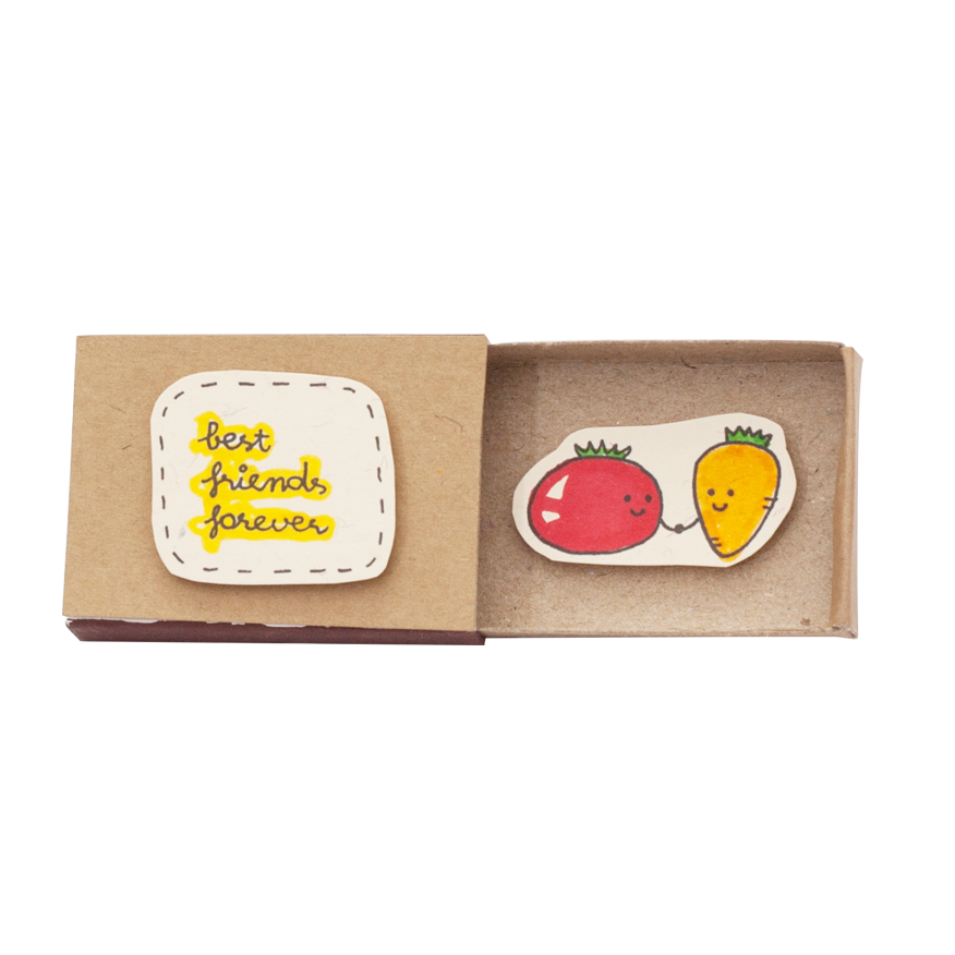 "OT028 - ""Best Friends Forever"" Tomato Carrot Matchbox"