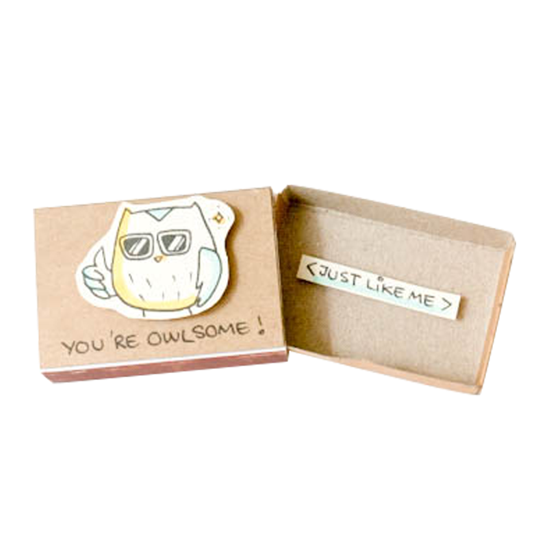 "OT037 - ""You're Owlsome"" Owl Friendship Matchbox"